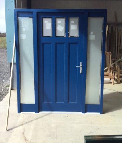 Blue Wooden Door in a Workshop