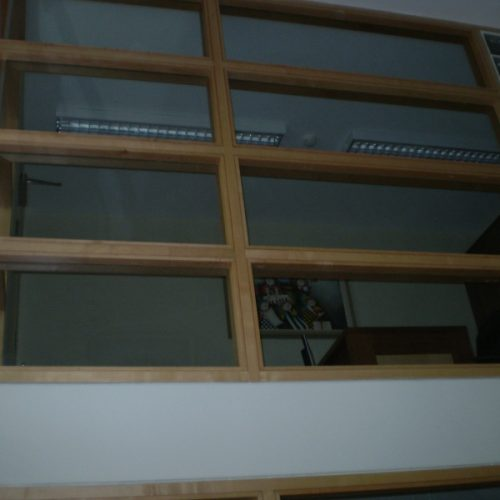 Wooden Window Frame in an Office